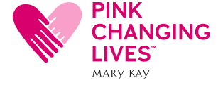 Logo for Mary Kay Pink Changing Lives initiative features two hands joining to form the shape of a heart.