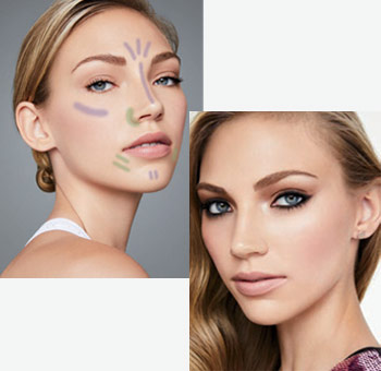 Model is wearing limited-edition Mary Kay At Play colour correcting makeup.  Model is wearing limited-edition Mary Kay At Play colour correcting makeup blended with the rest of her look.