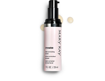 A tube of TimeWise Tone Correcting Serum with accompanying product rubs.