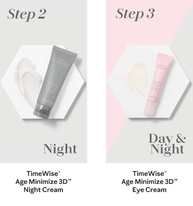 The second nighttime step in Mary Kay's new TimeWise Miracle Set 3D skin care regimen, the TimeWise Age Minimize 3D Night Cream, is shown in a grey tube. The third and final step in Mary Kay's new TimeWise Miracle Set 3D skin care regimen, the TimeWise Age Minimize 3D Eye Cream, is shown in a pink tube.