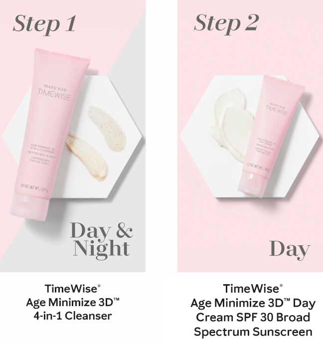 The first step in Mary Kay's new TimeWise Miracle Set 3D skin care regimen, the TimeWise Age Minimize 3D 4-in-1 Cleanser, is shown in a pink tube. The second daytime step in Mary Kay's new TimeWise Miracle Set 3D skin care regimen, the TimeWise Age Minimize 3D Day Cream SPF 30, is shown in a pink tube.