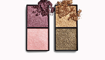 All shades of the Mary Kay Foil Eye Shadow Duo with product crumbles