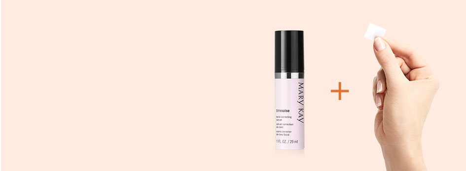 When you combine NEW TimeWise Vitamin C Activating Squares with your favorite Mary Kay serum, it powers up your serum for an age-fighting boost. Image features a light orange background. On the right side, the TimeWise Tone-Correcting Serum bottle is shown along with a hand holding a new TimeWise Vitamin C Activating Square. In between them is a dark orange plus sign.