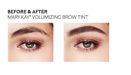 Before and after photo focusing on impact of Mary Kay Volumizing Brow Tint