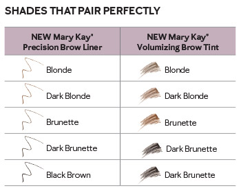 Chart that pairs complementary shades of Mary Kay Precision Brow Liner with Mary Kay Volumizing Brow Tint.