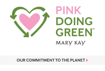 Logo for Mary Kay Pink Doing Green initiative features recycling symbol formed around a heart.