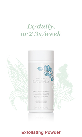 Mary Kay Naturally Exfoliating Powder pictured with light green illustrations of a castor oil plant and corn