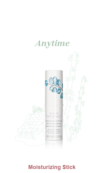 Mary Kay Naturally Moisturizing Stick pictured with light green illustrations of honeycomb with a bee and a candelilla wax plant